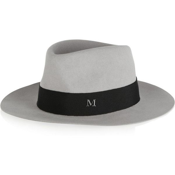 Maison Michel Andre grosgrain-trimmed rabbit-felt fedora ($625) found on Polyvore featuring accessories, hats, grey, rabbit hat, maison michel hats, gray fedora hat, grey fedora hat and rabbit fur hat