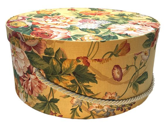 Round Decorative Boxes Fair Extra Large Hat Box In Yellow Floral Ready To Ship Round  Hat Box Design Decoration