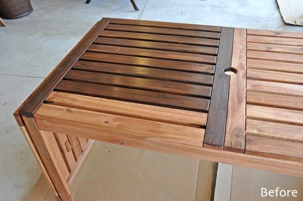 staining the applaro outdoor table from ikea