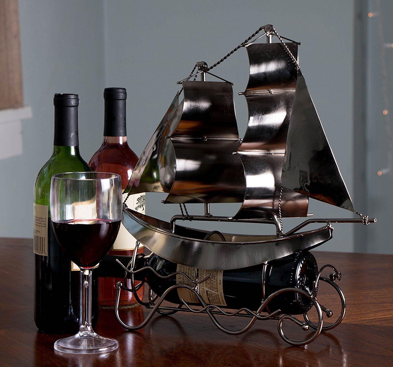 Metal Sailboat Wine Bottle Holder Gifts For Wine Lovers