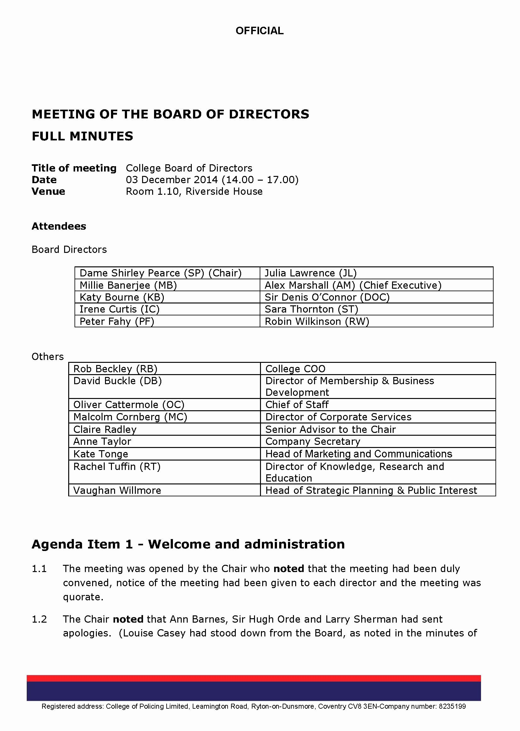 Corporate Board Of Directors Meeting Agenda Template In 2020