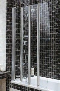 Coram Screens U003e Silver Frameless Folding Bath Screen With 4 Panels.