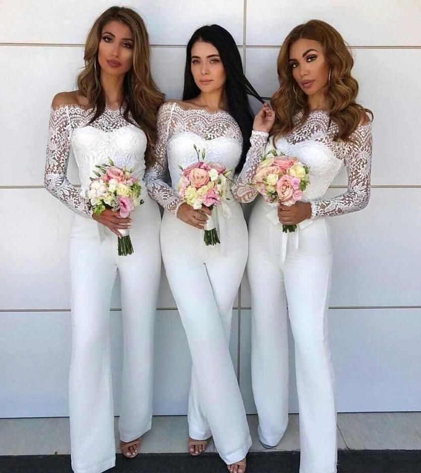 Off Shoulder Lace Jumpsuit Bridesmaid Dresses For Wedding White