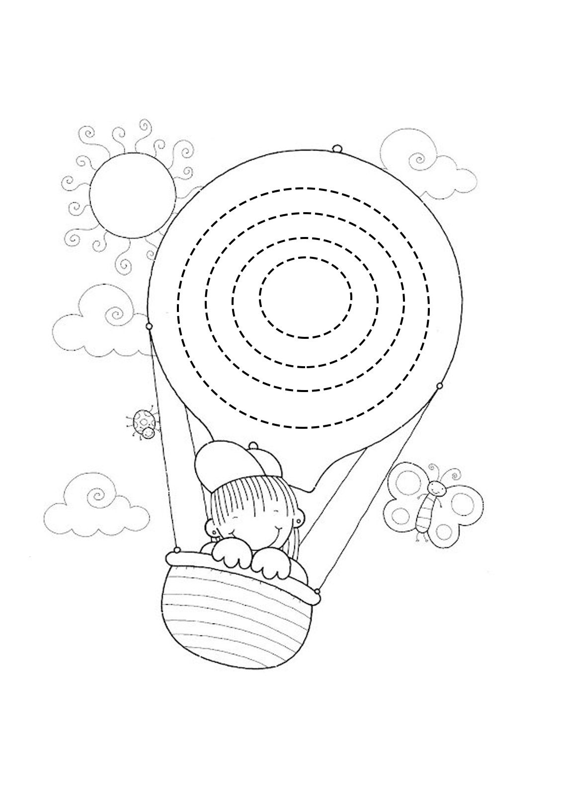 Ucan Balon Cizgi Calismasi Balon Boyama Boyama Sayfalari Sanat