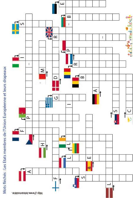 Jeu Mots Fleches Monde Französischunterricht Französisch Et