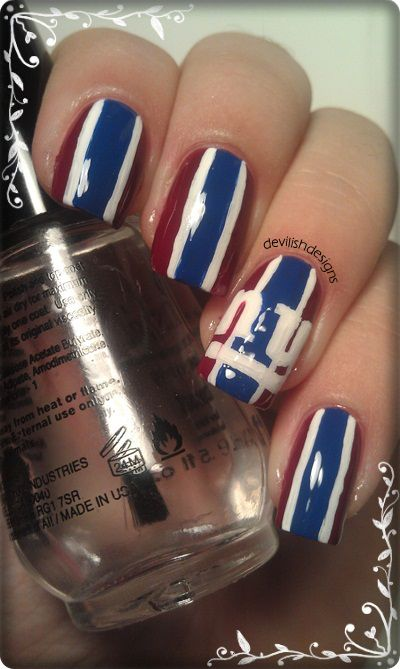 New York Giants Football Nail Designs Art