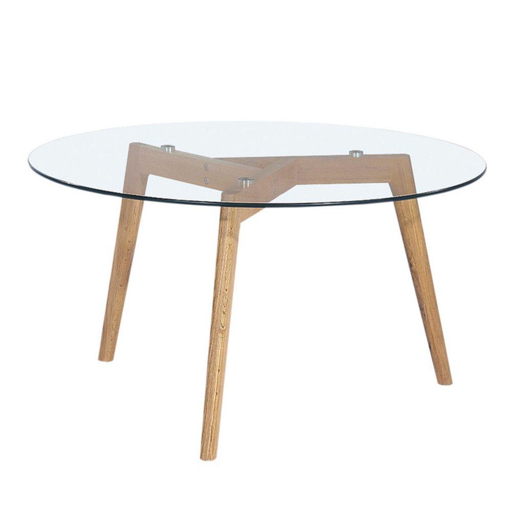 étourdissant table basse ronde verre et bois | décoration