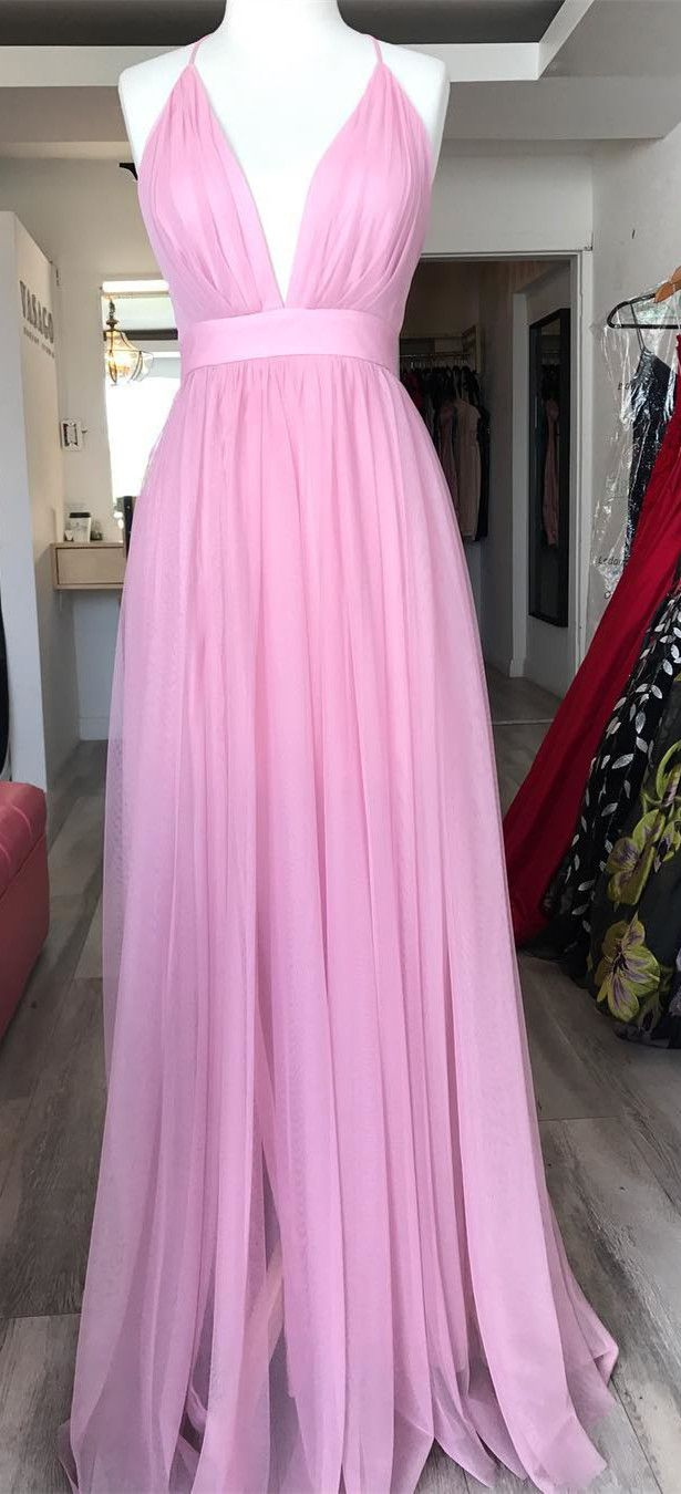 2018 prom dress, pink long prom dress party dress, simple long prom ...