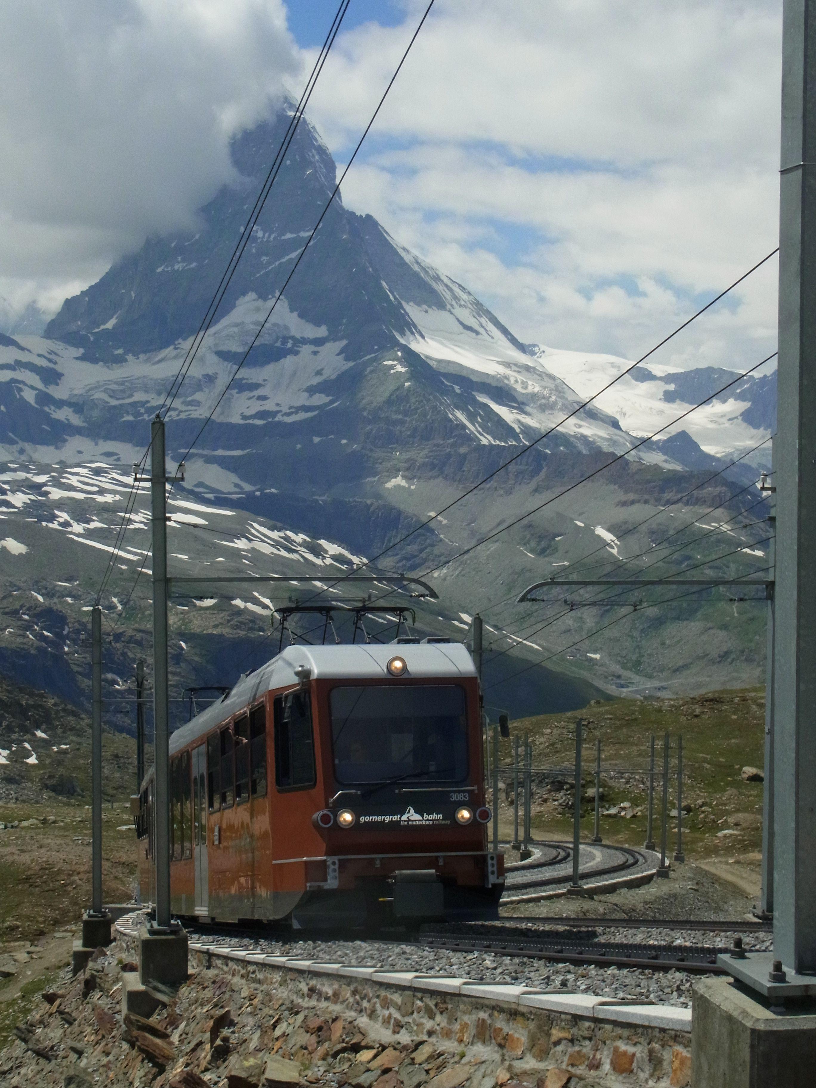 Gornergrat Bahn mit Matterhorn. Schweiz.