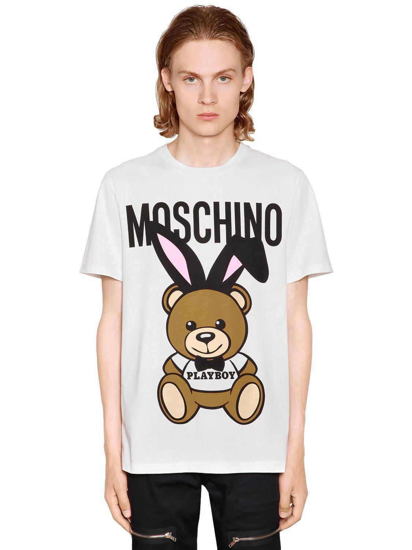 fa3628504f MOSCHINO PLAYBOY TEDDY BEAR PRINT JERSEY T-SHIRT. #moschino #cloth ...