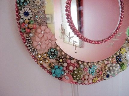 TO DO: Gather broken pieces, old beaded necklaces, and other vintage jewelry to embellish small wall mirror for the hallway