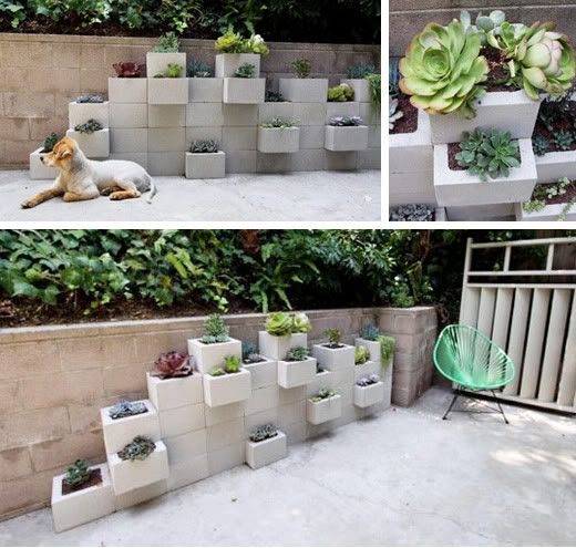 cinder block planter wall - would be totally easy to paint this and make it  even - Cinder Block Planter Wall - Would Be Totally Easy To Paint This