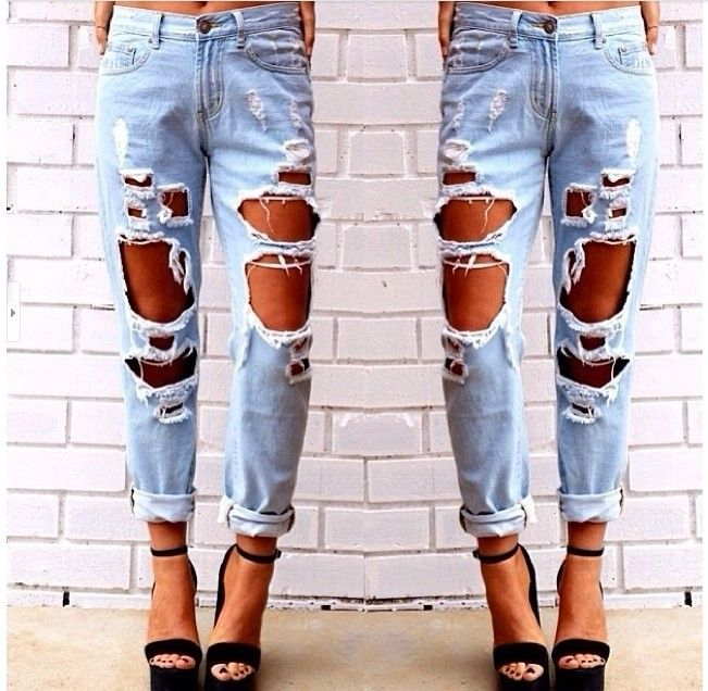 Women's Vintage boyfriend slouchy Big Ripped Destroyed Washed Out jeans  Denim Distressed punk rock trousers pants