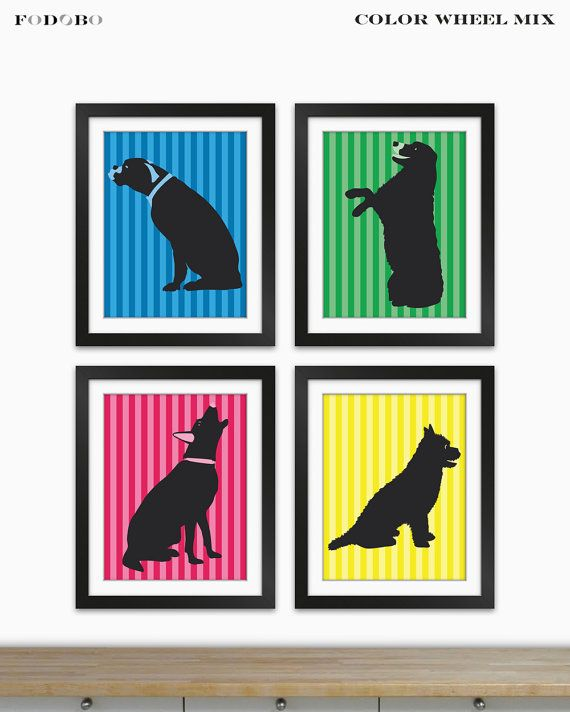 Dog Silhouettes Wall Art Prints Room Décor Veterinary Gift Idea For Vets  Office Dogs Nursery Theme