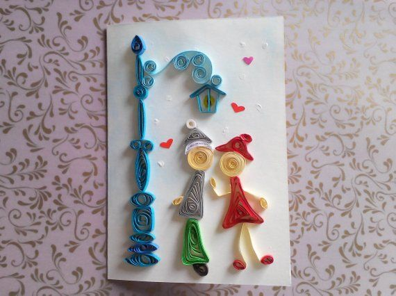 valentine cards handmade, paper quilling love card, quill card, quill, love card for her, quill vale