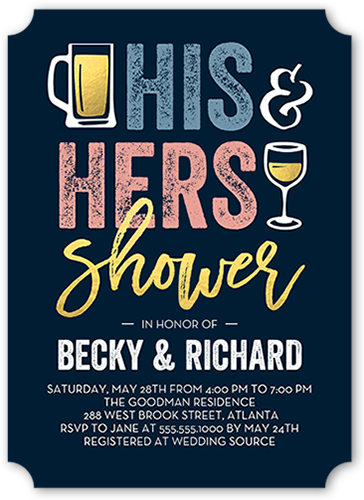 edfa1d5056c1 His And Hers Shower 5x7 Bridal Shower Invitations
