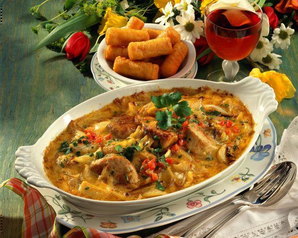 Überbackene Schweinemedaillons in Zwiebel-Curry-Sahnesoße #porksausages