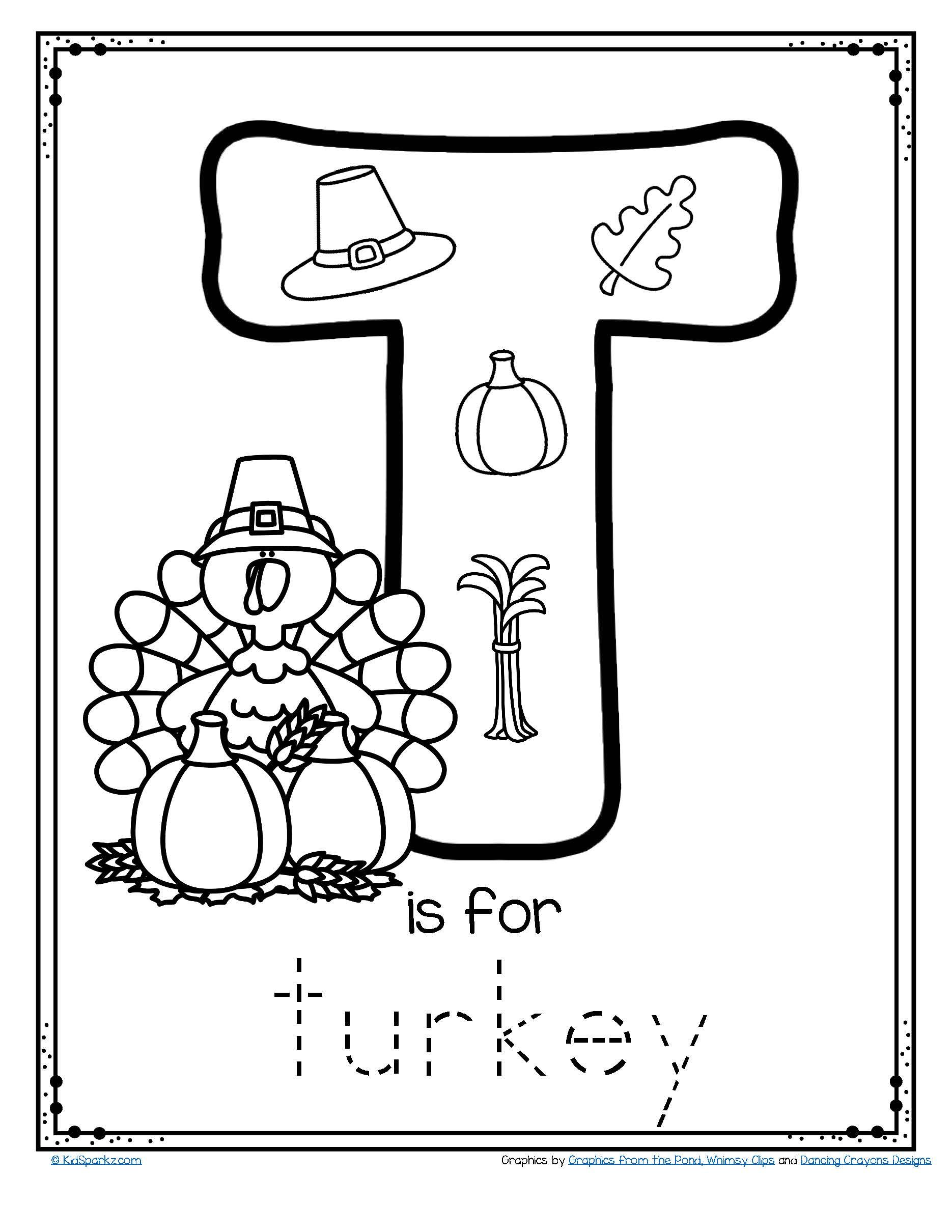 Free T Is For Turkey Trace And Color Alphabet Printables For Thanksgiving Thanksgiving Activities Preschool Thanksgiving Worksheets Thanksgiving Preschool
