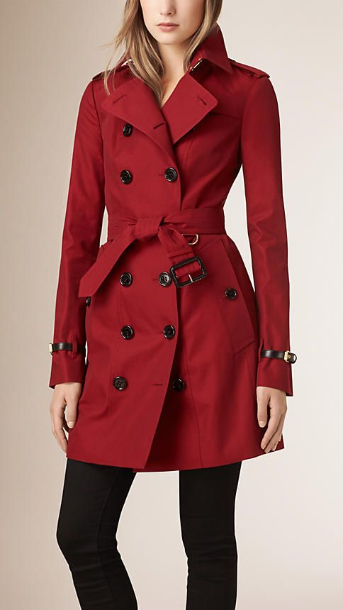 Vermelho militar Trench coat de gabardine de algodão com acabamento de couro - Imagem 1