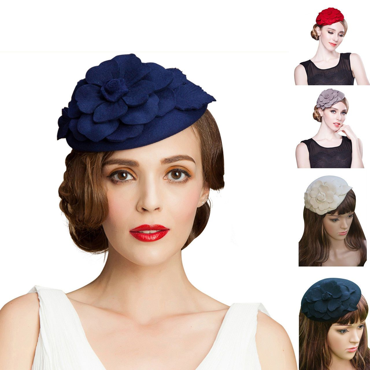 ca8140ee45ad6 Floral Womens Dress Fascinator Wool Felt Pillbox Hat Cocktail Party Wedding  A083