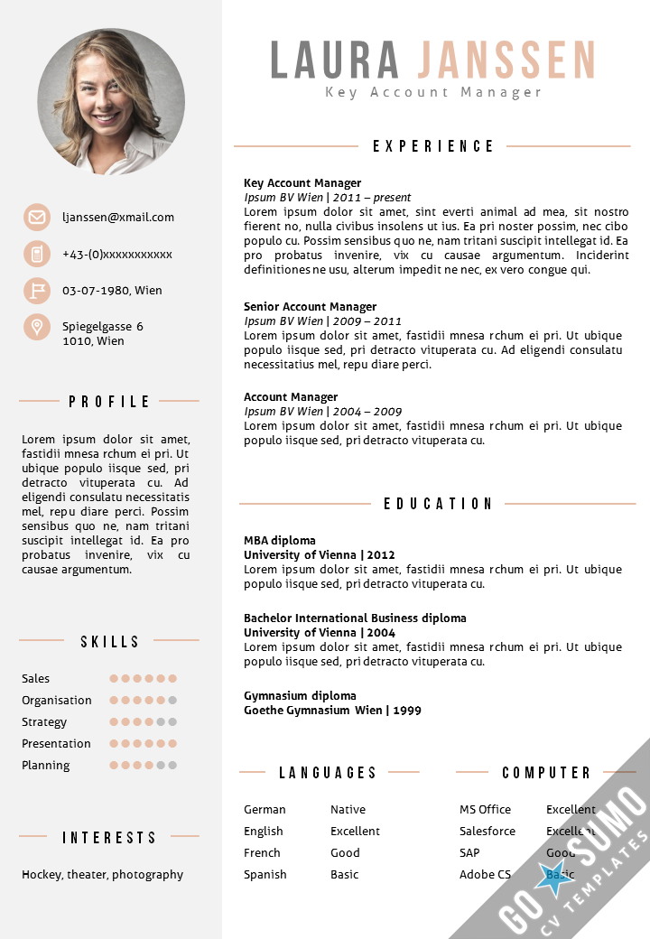 CV Template Vienna  Go Sumo CV templates  Resume