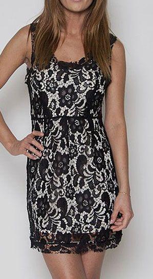 Black & Cream Lace Sleeveless Dress