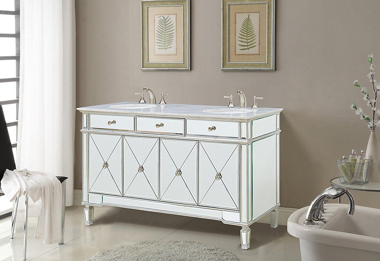 Modern Bathroom Vanity Amazon modern mirrored 60 in. double bathroom vanity - - amazon