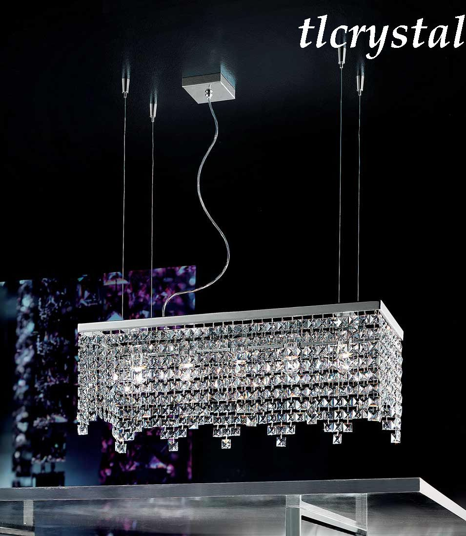 Rectangular chandelier with square crystals modern crystal rectangular chandelier with square crystals mozeypictures Images