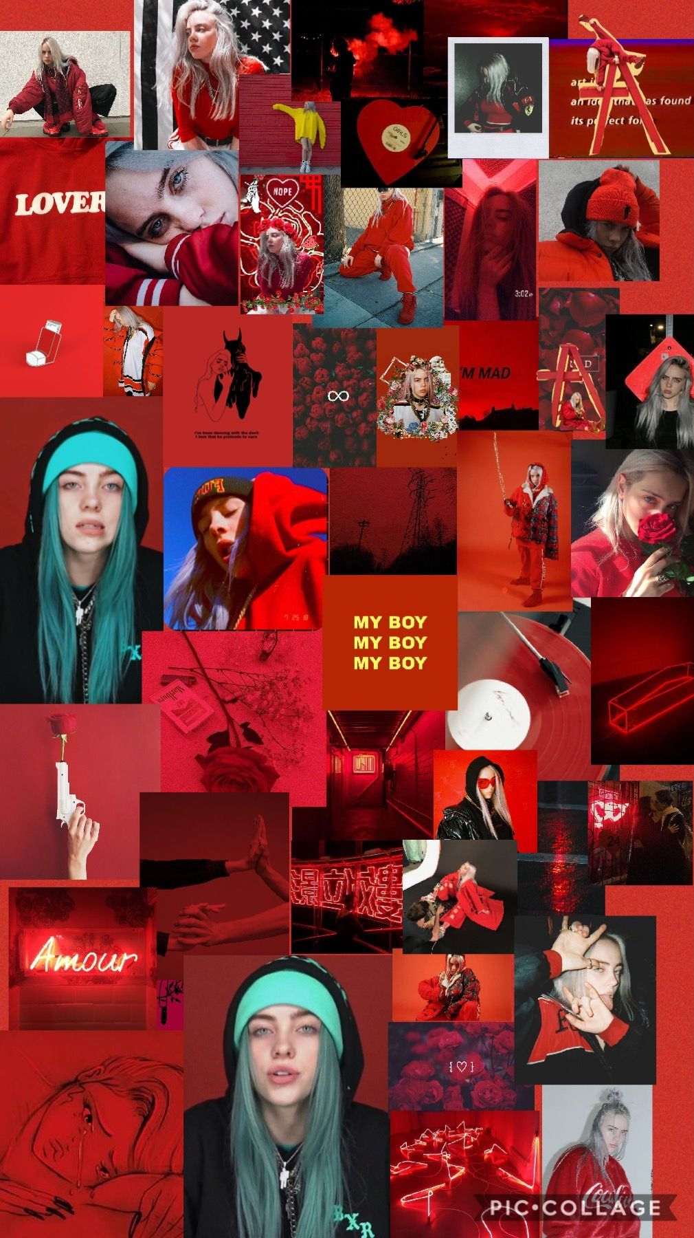 Billie Billie Billie Eilish Collage Background