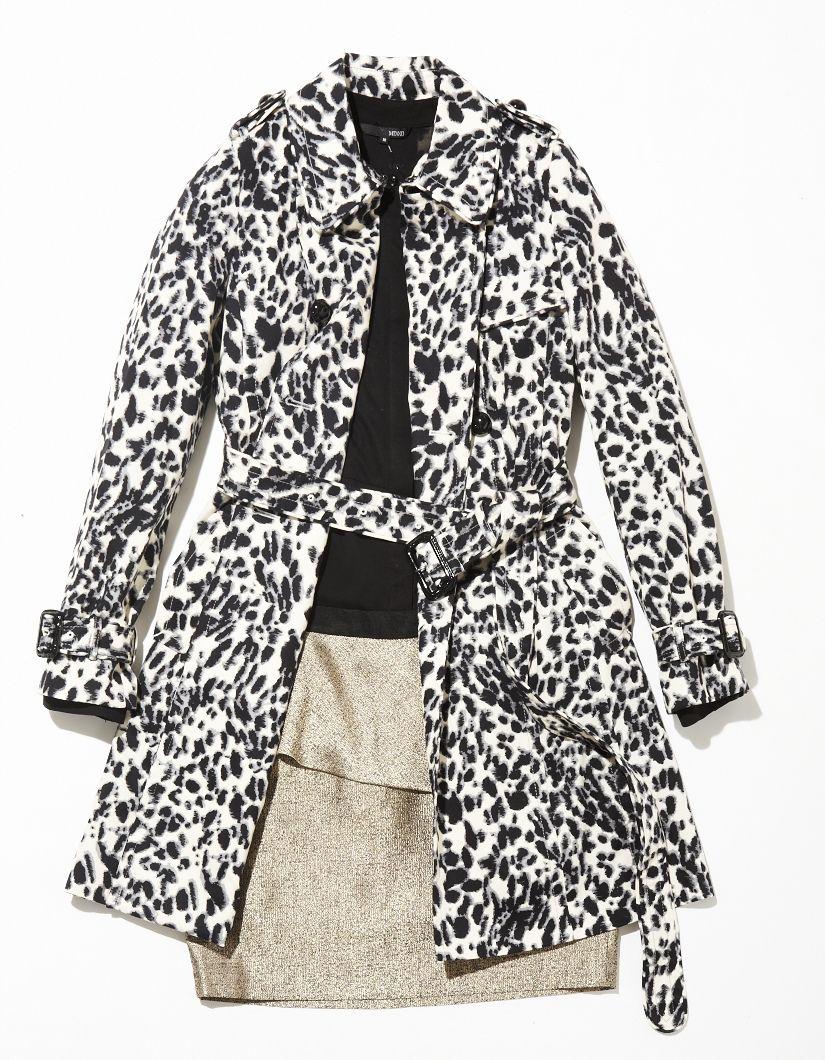 Leopard trench coat mix & match/ 블랙 앤 화이트 레오파드 패턴을 활용한 페미닌 스타일링