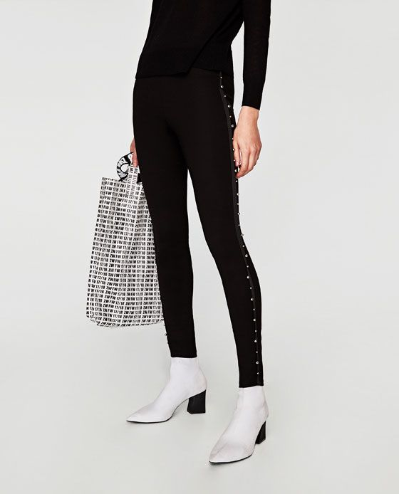 a2916651 Image 2 of LEGGINS WITH FAUX PEARLS ON THE SIDE from Zara | style ...