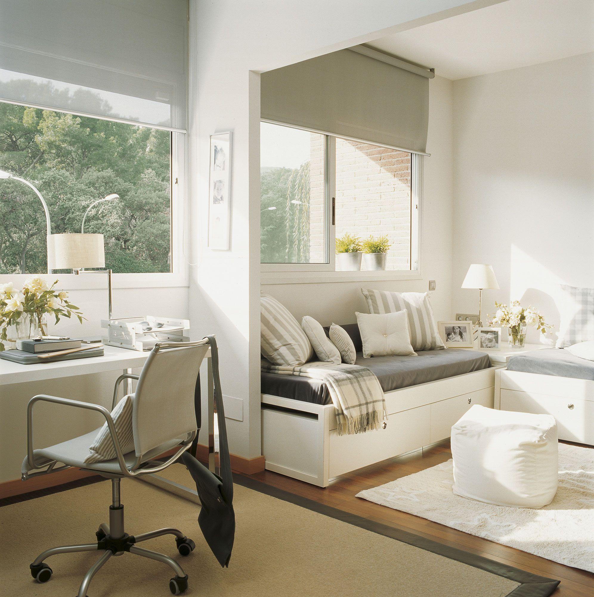 Habitaci n juvenil con dos camas y una zona de estudio - Ideas para decorar un dormitorio juvenil ...