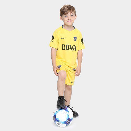 Camiseta Nike Boca Juniors Alternativa Stadium 2017 18 Infantil - Amarillo e7e7301d55d4c