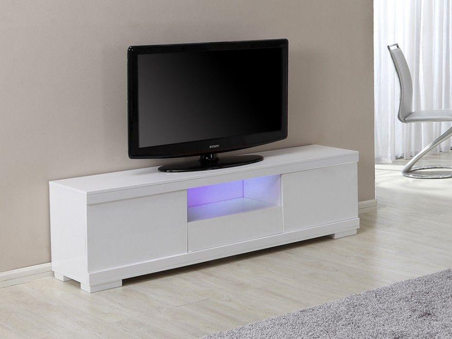 Meuble TV PLUTON avec rangements - LEDs - MDF laqué blanc - Meuble Tv Avec Rangement