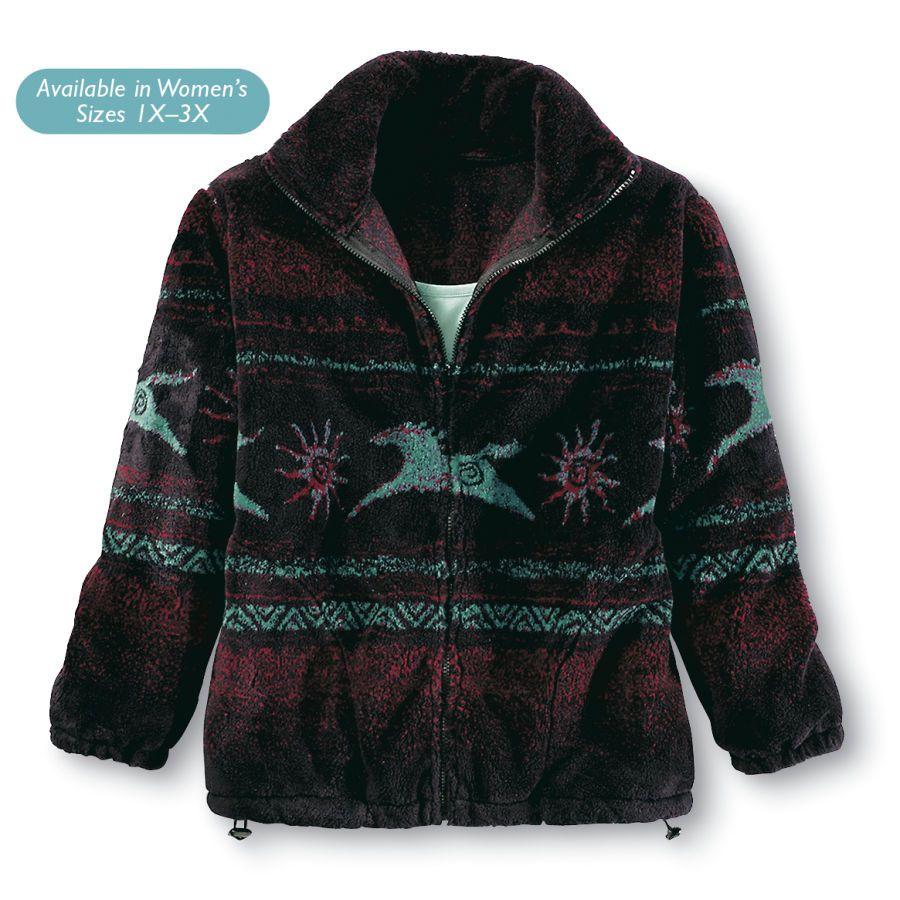 Tribal Horses Fleece Jacket - Western Wear, Equestrian Inspired ...