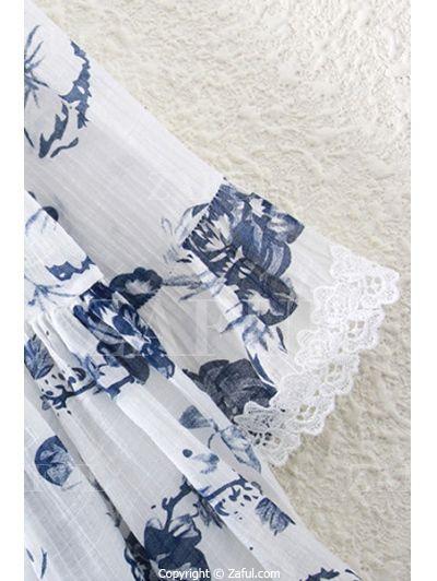 Ink Floral Print V Neck 3/4 Sleeve Blouse WHITE: Blouses | ZAFUL