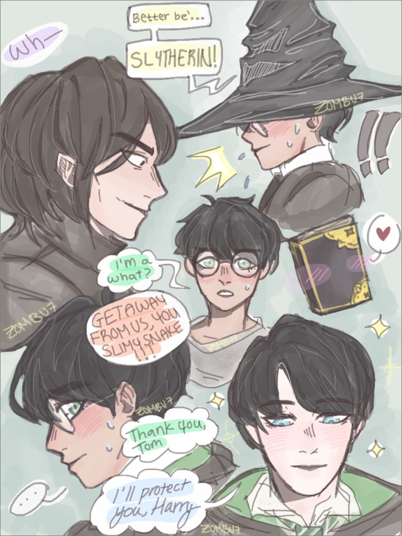 That One Au Where Harry Potter Is Sorted Into Slytherin Tom Riddle Was Born On 1976 And Snape Has To Deal With A Lot Of Problems Harry Potter Comics Harry Potter
