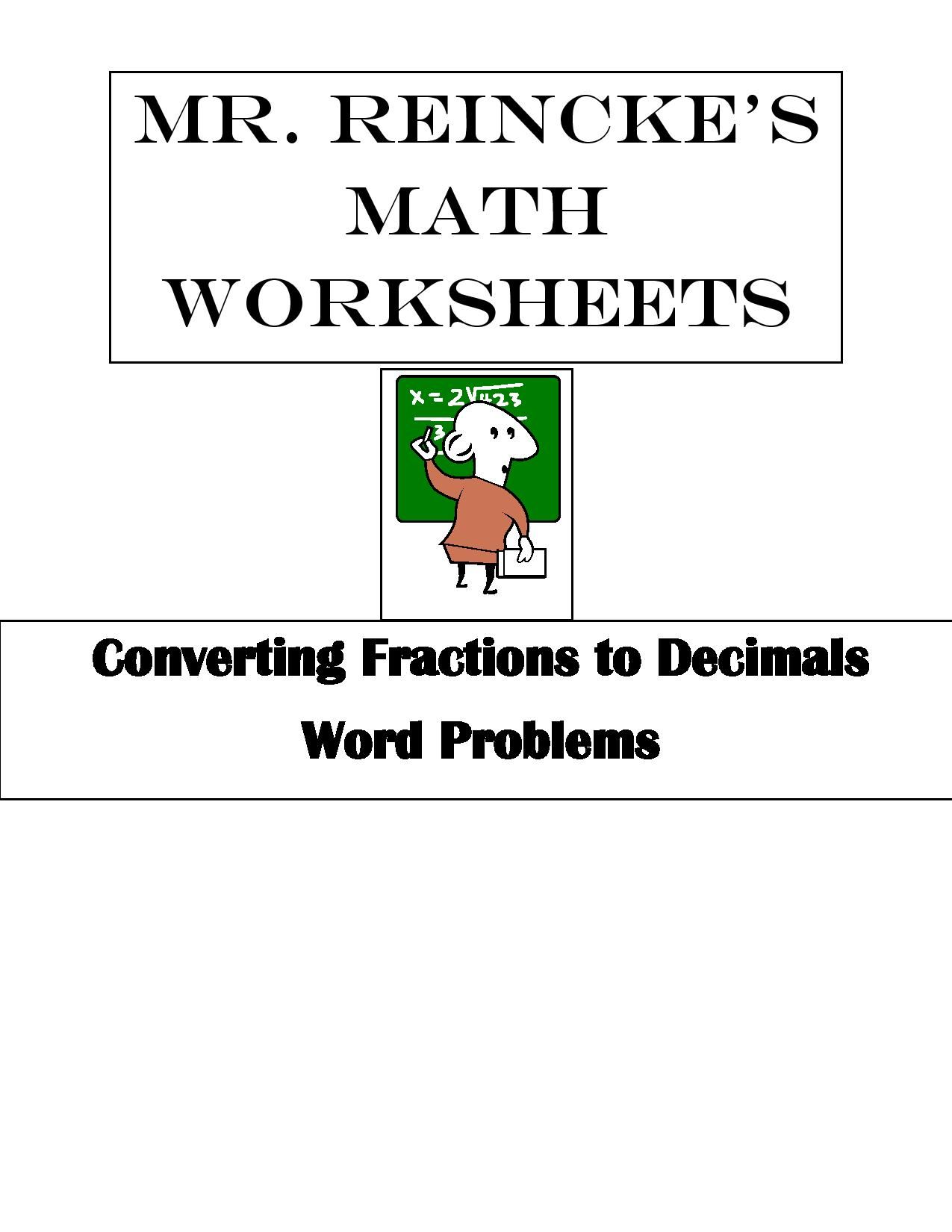 Converting Fractions to Decimals Word Problems 4 worksheets