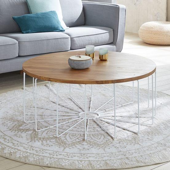 table basse ronde en bois de teck et mtal 100 salons