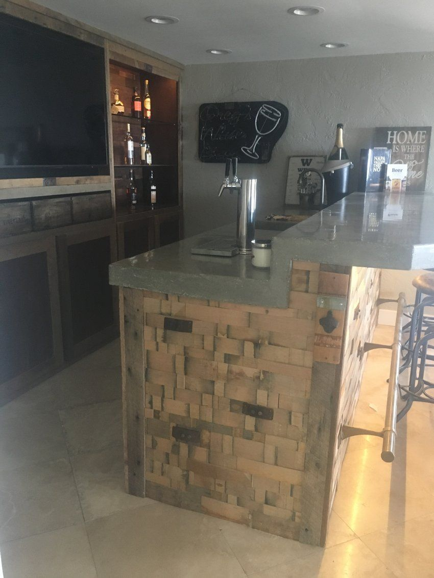 Antique Wood Paneling For Walls: 12sf Reclaimed Natural Oak Wine Barrel Stave Stacked Wall