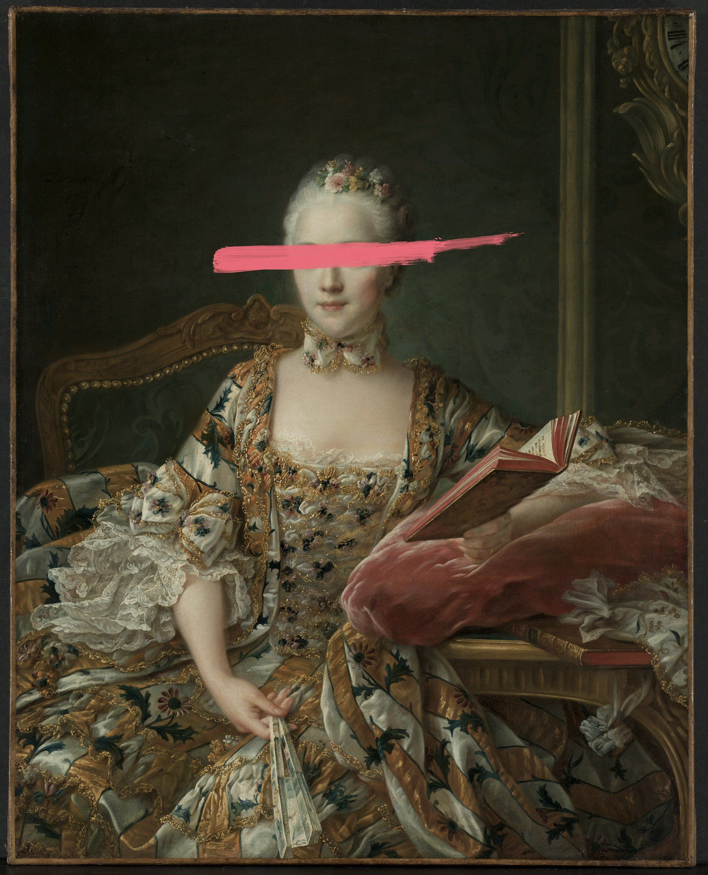 Edgy Sophisticated Art Classic Portrait With Pink Line Over Eyes Classic Portraits Sophisticated Art Classic Portrait Painting