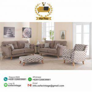 Set Sofa Tamu Vintage Minimalis Mozza Ruang Keluarga