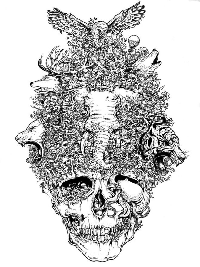 skull mural kerby rosanes Doodle Coloring pages colouring adult ...