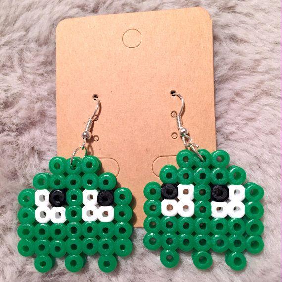 Green Pacman Ghost Hama Bead Earrings by TheBeadedLadyCrafts