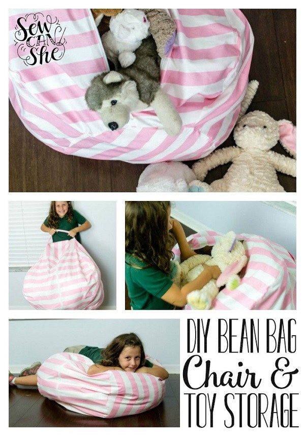 Tutorial: Bean bag chair with stuffed animal storage