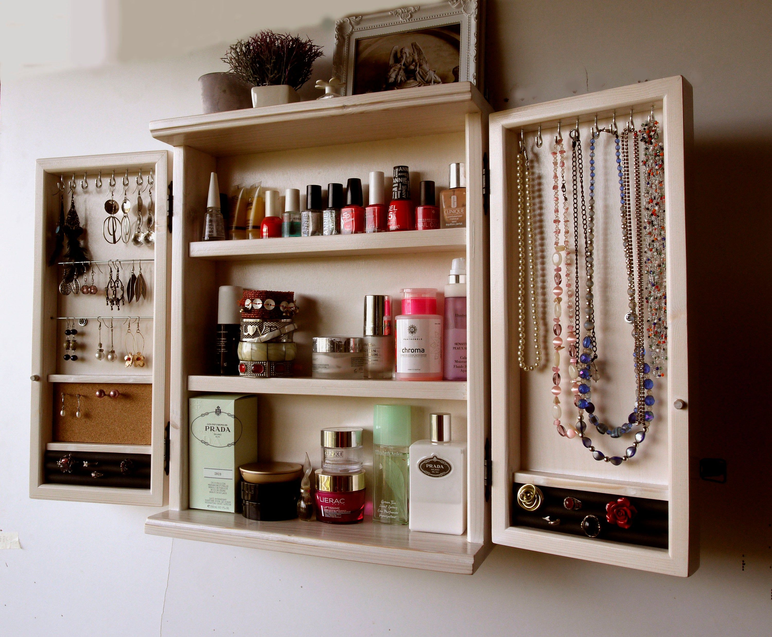 Jewelry Cabinet Jewelry Organizer Make Up Box Armoire Wall Etsy Jewelry Cabinet Wall Closet Jewelry Organization