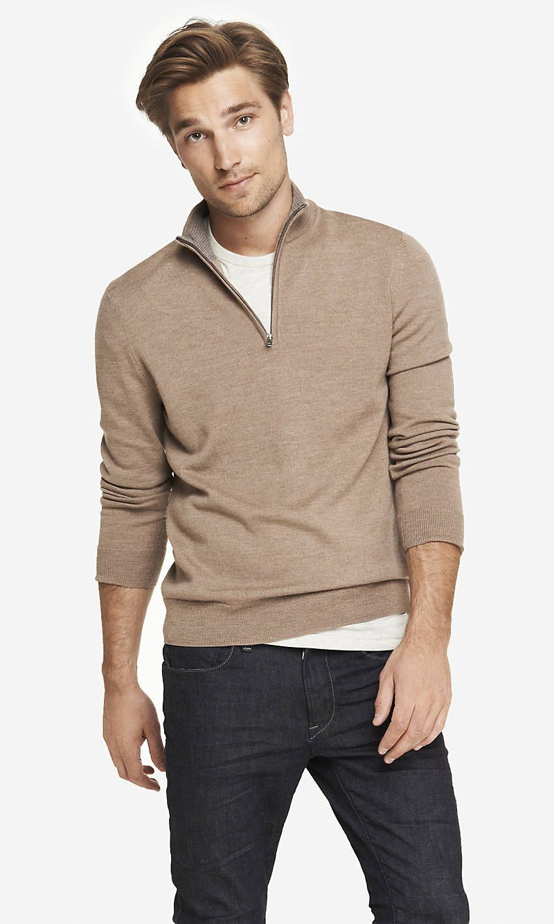 MERINO WOOL ZIP,UP MOCK NECK SWEATER