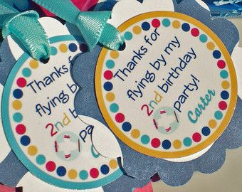 Airplane Birthday Party Decorations Tags via Etsy 2nd birthday