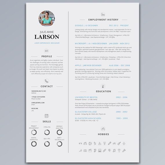 Resume Template CV Template + Cover Letter + Application Advice - single page resume template