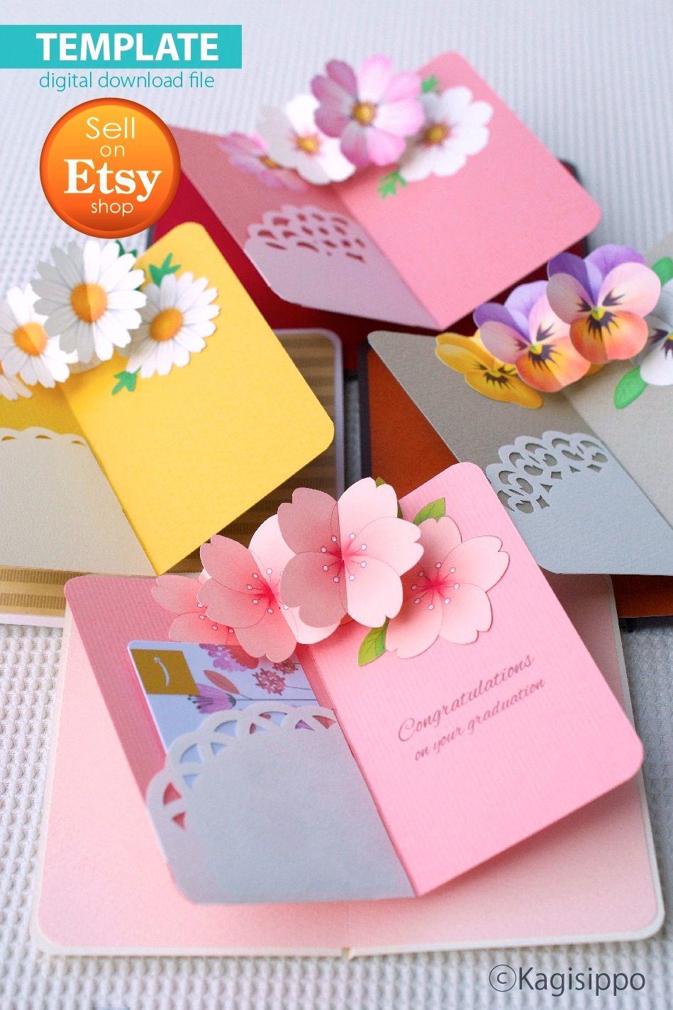 Template [Gift card holder (flowers) ] pop-up card (PDF_digital download file)